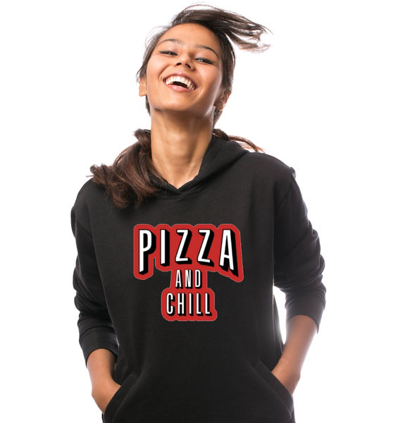 Pizza and Chill Hoodie-Black