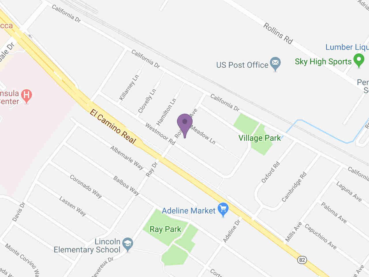 Location:, 1557 Meadow LN Burlingame, CA, 94010