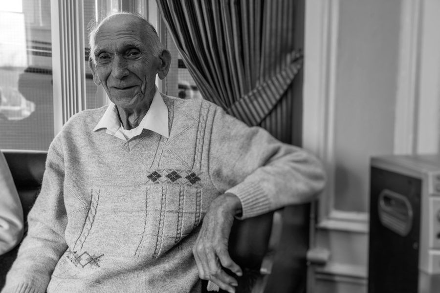Monochrome portrait of BLESMA resident Doug Baines