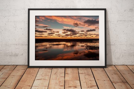 Blackpool Crepuscular Clouds Photography Print In Black Frame