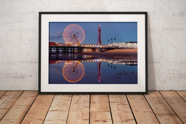 Reflections of Blackpool Photography Print in Black Frame