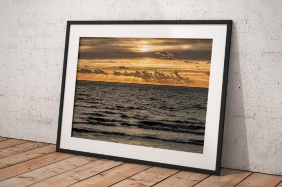 Seaside Sun Rays Photography Print In Black Frame