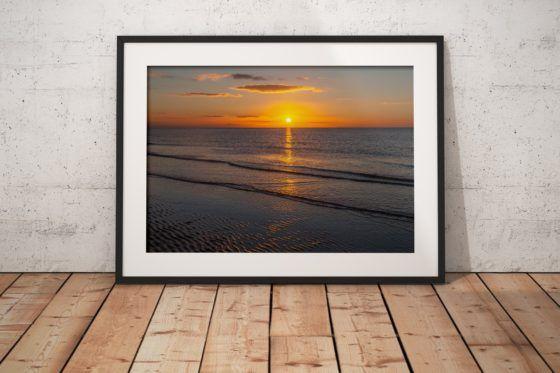 Golden Seaside Sunset Photography Print In Black Frame