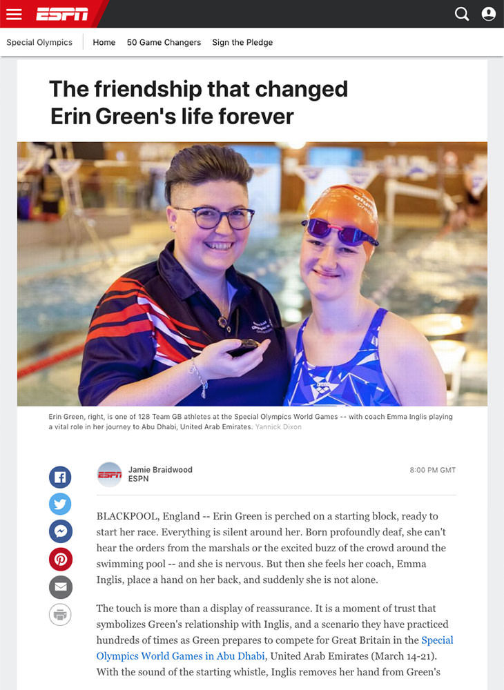 Photoshoot with Special Olympics simmer Erin Green and her coach Emma Inglis for ESPN article. Photography by Blackpool Photographer Yannick Dixon.
