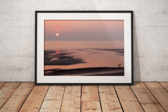 Blackpool Sunset Silhouettes Photography Print In Black Frame