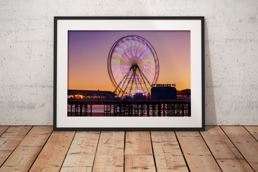 Blackpool Central Pier Wheel Photography Print In Black Frame