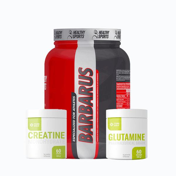 Combo barbarus 4lb + creatine 300grm pure bulk + glutamine 300grm pure bulk