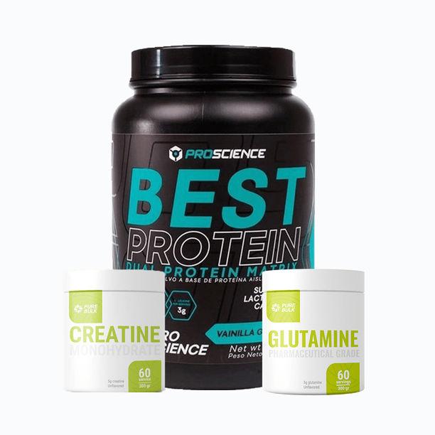Combo best protein 2lb + creatine 300grm + glutamine 300grm