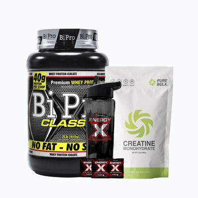 Combo bipro classic 2lb + creatine monohydrate kilo + energy x termo - 1 pack