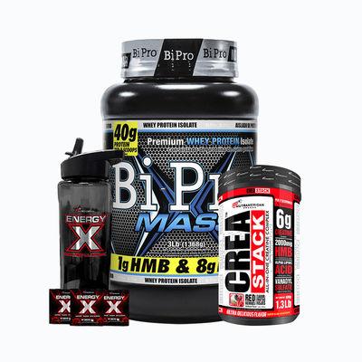 Combo bipro mass 3lb + crea stack 1,6lb + energy x termo gratis - 1 pack