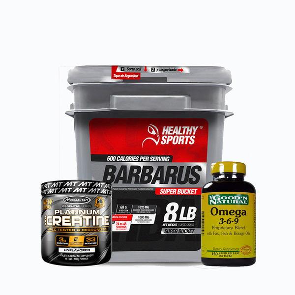 Barbarus 8lb + platinum creatine 100grm + omega 3-6-9 120 caps