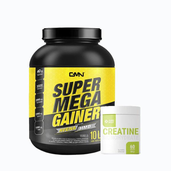 Combo super mega gainer 10lb + creatine 300grm pure bulk