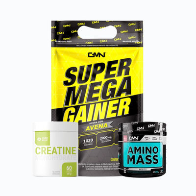 Combo super mega gainer 2lb + creatine 300grm pure bulk + amino mass 1lb - 1 pack