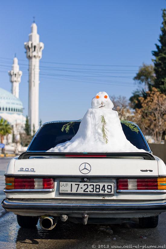 Bonhomme de neige Amman Jordanie 2013