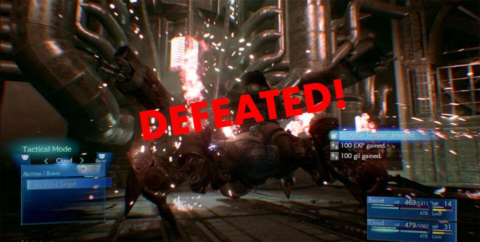 FF7 Remake Scorpion Sentinel Boss Fight Defeated