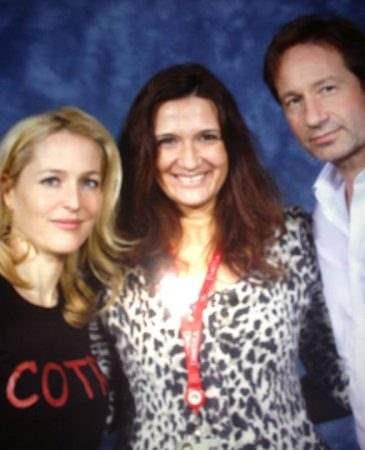 Momento tiete! Meus ídolos David Duchovny e Gillian Anderson , os astros de Arquivo X durante a Comic-Con.