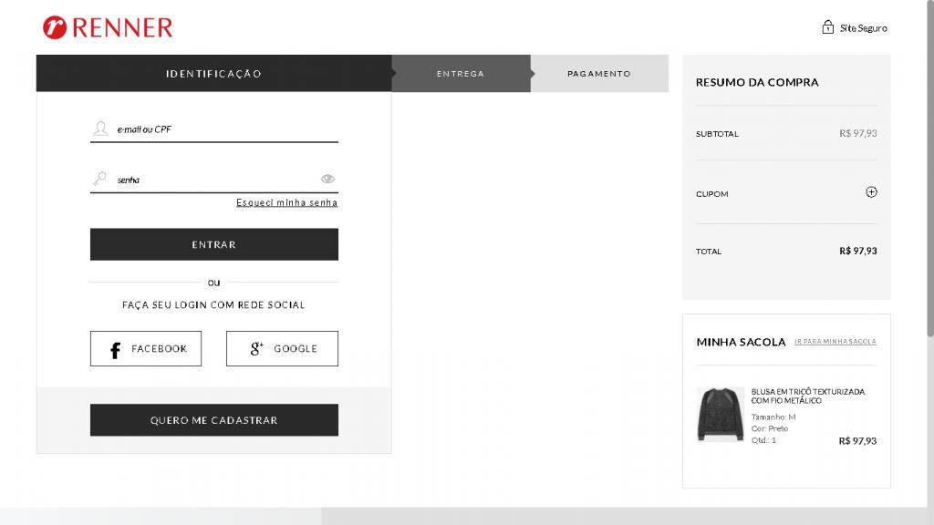 Exemplo de checkout simplificado da Renner