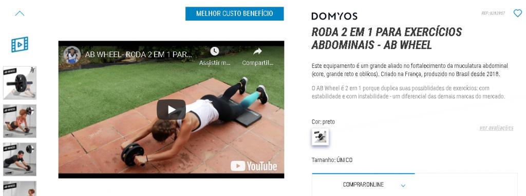 Exemplo uso de vídeos em descrição de produto da Decathlon