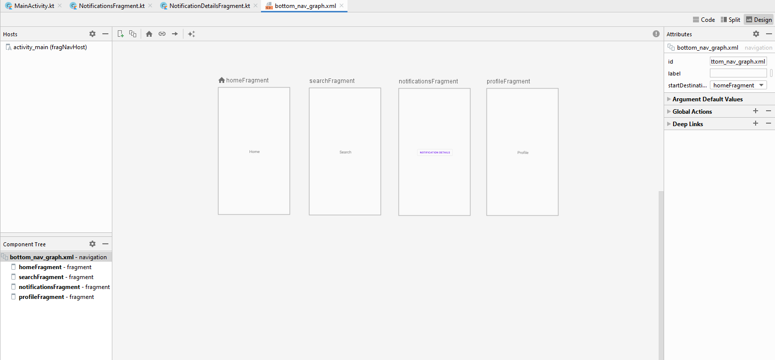 Navigation Graph in Android Studio Design View
