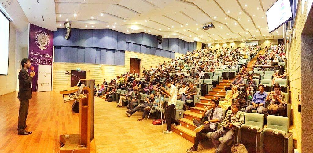 Me, giving talk at GDG DevFest Karachi 2019 at IBA University