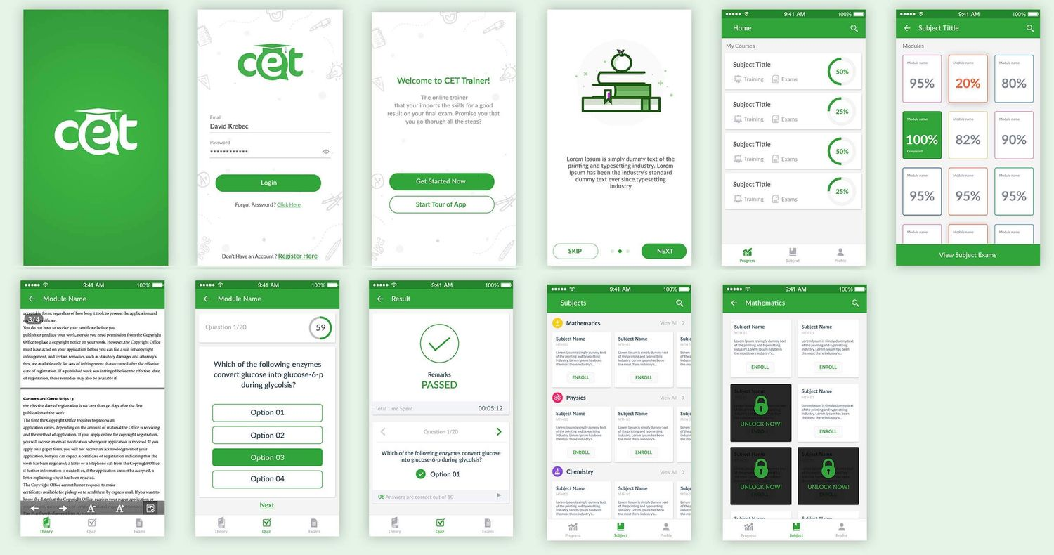 Some Screens of CET App