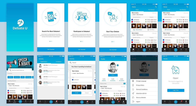 Some screens of DebateU App