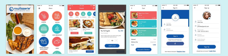 Some screens of Rowtisseri App
