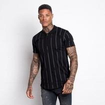 """Vyriški juodos spalvos polo marškinėliai """"304"""" su pilkomis juostelėmis"""