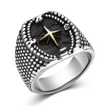 """Vintažinio stiliaus vyriškas plieninis žiedas """"Kompasas"""""""
