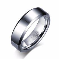 Sidabro spalvos klasikinio stiliaus žiedas iš volframo vyrams
