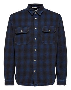 Selected Homme Loose Devon Check Overshirt in Navy