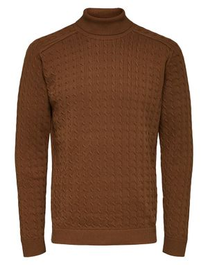 Selected Homme Aiko Cable Knit Rollneck Jumper in Coffee