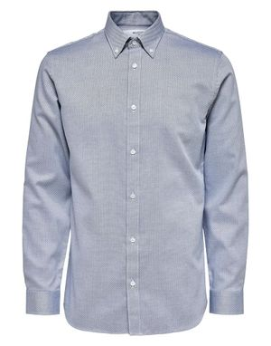 Selected Homme Formal Shirt in White and Blue Structure