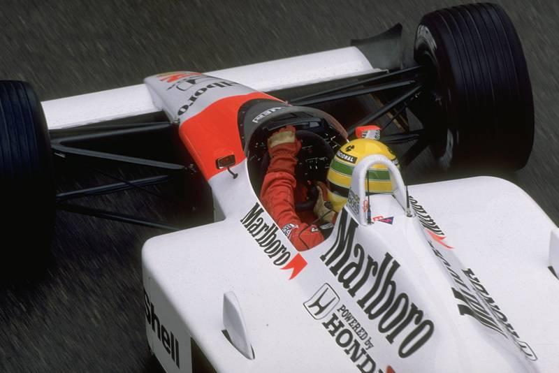 Looking into the cockpit as Ayrton Senna drives his McLaren Honda in the 1988 Monaco Grand Prix