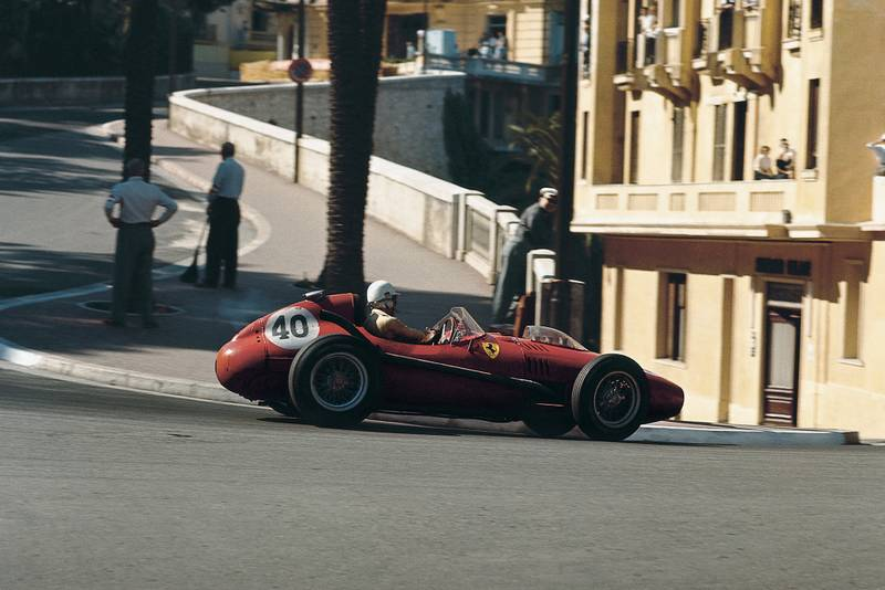 Ferrari's Wolfgang von Trips takes on the Loews hairpin at the 1958 Monaco Grand Prix