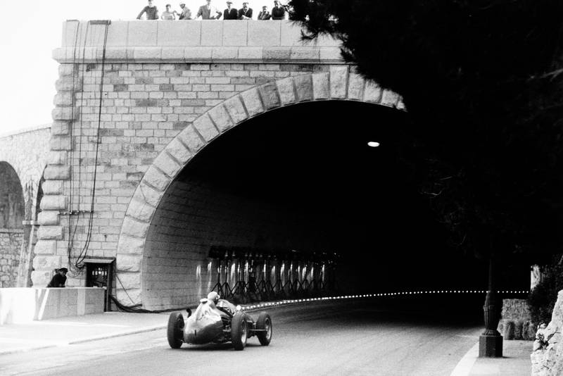 Luigi Musso heads into the tunnel in the Ferrari Dino 246 at the 1958 Monaco GP