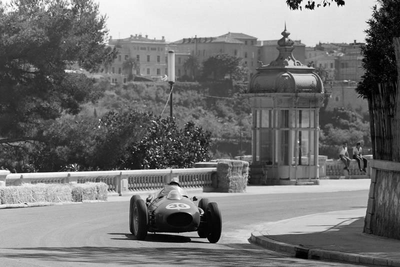 Peter Collins in his Ferrari Dino 246 during the 1958 Monaco Grand Prix.