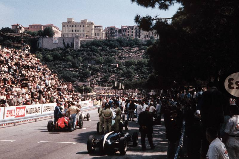 The starting grid at the 1960 Monaco GP