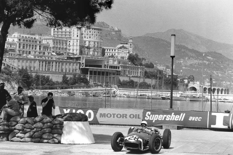 Stirling Moss rounds the gasworks hairpin on his way to Monaco victory