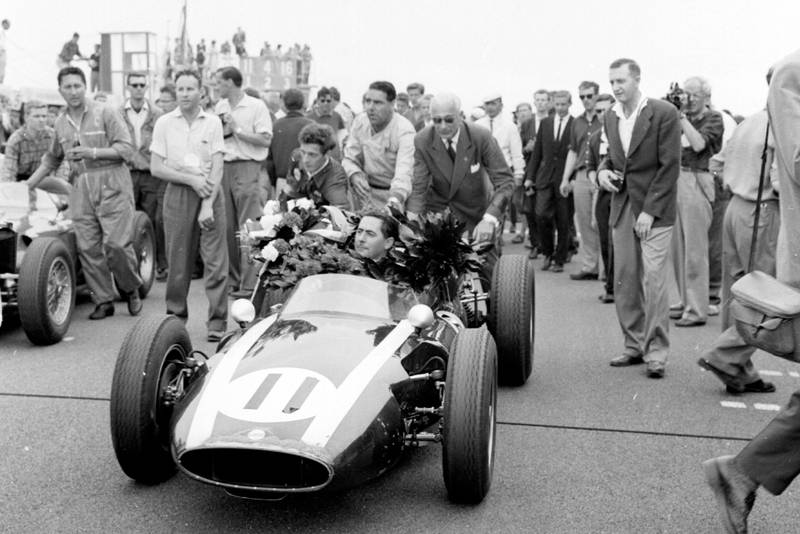 Jack Brabham takes the plaudits upon winning