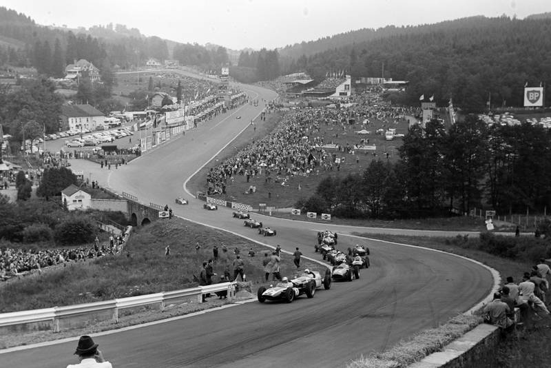 Brabham heads the field at the start