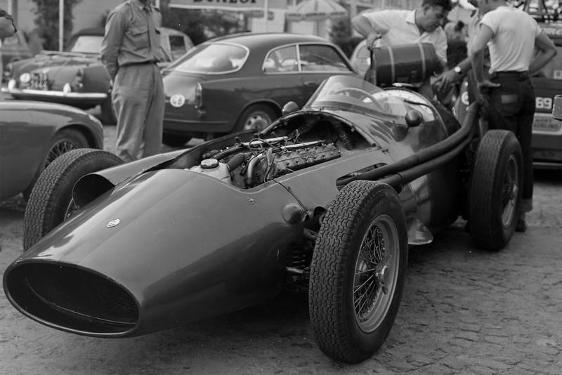 Horace Gould's Maserati 250F in the paddock