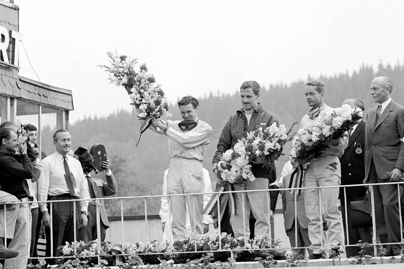 Clark celebrates his win on the podium