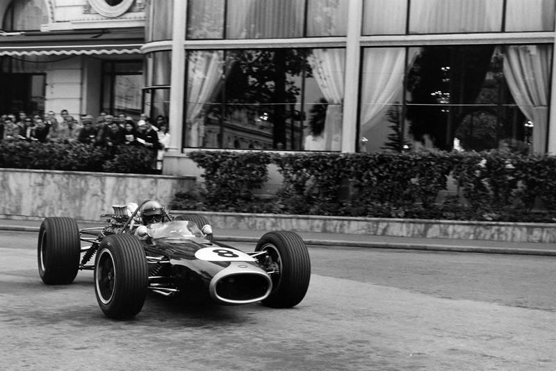 Jack Brabham, Brabham BT19 Repco, corrects a slide at Casino Square.