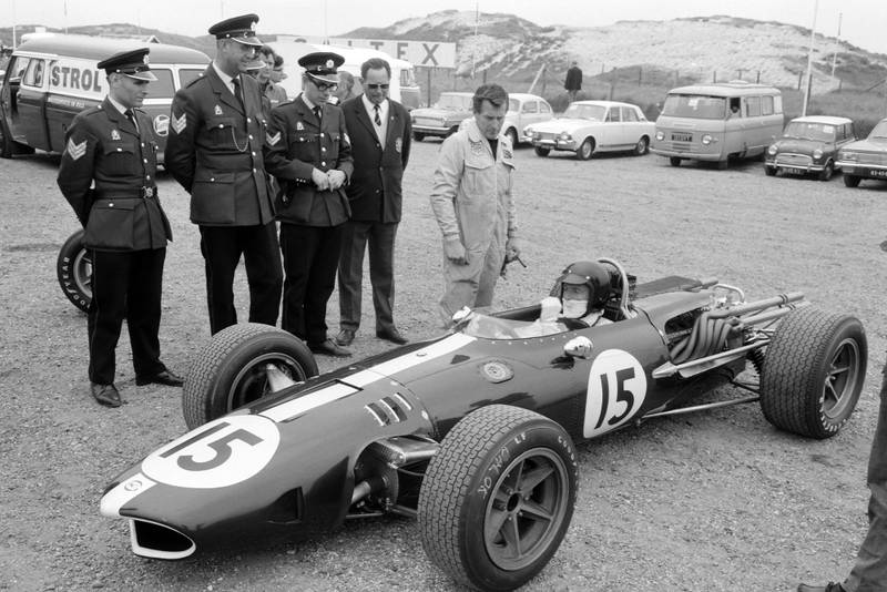 Dan Gurney, Eagle T1G Weslake in the paddock.