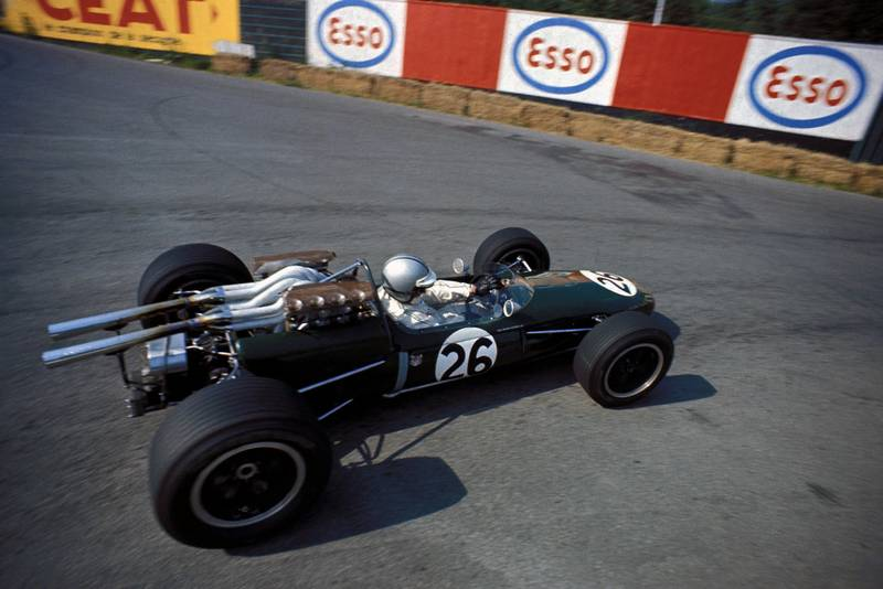 Jack Brabham (AUS) Brabham Repco BT24, retired on lap 16. Formula One World Championship, Rd4, Belgian Grand Prix, Spa Francorchamps, Belgium. 18 June 1967.