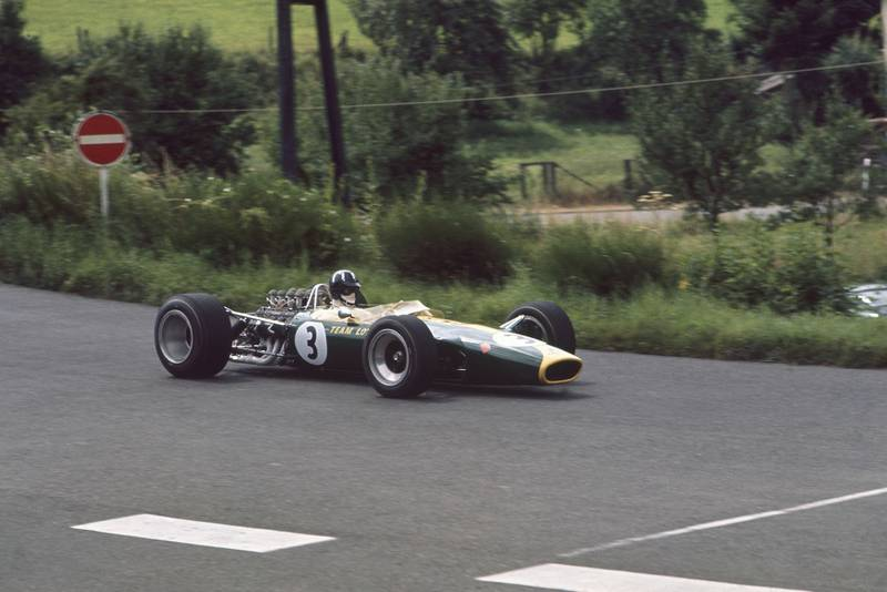 Graham Hill (Lotus 49 Ford) in practice.