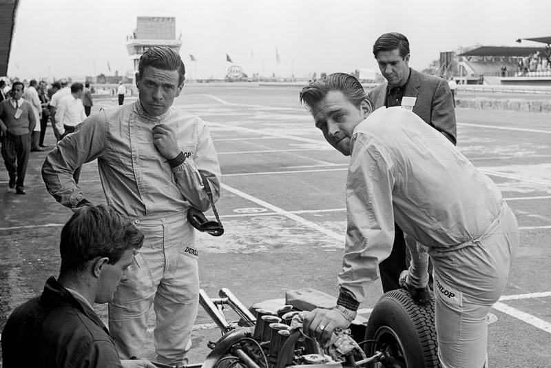 Jim Clark and Trevor Taylor at the 1963 Mexican Grand Prix