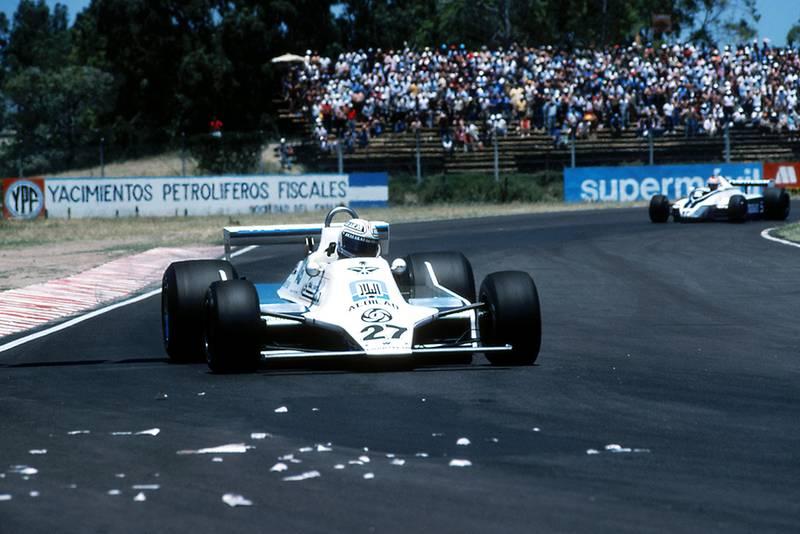 Race winner Alan Jones in his Williams FW07.