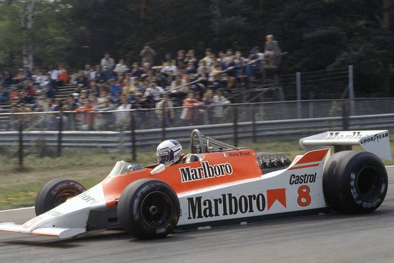 Alain Prost at the wheel of his McLaren M29-Ford Cosworth.
